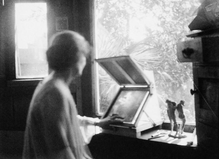Anne Brigman in studio, ca. 1915