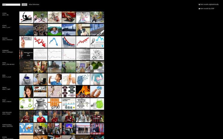 """Tarin Symon & Aaron Swartz, Image Atlas, 2012 (chiave di ricerca: """"abate"""") www.imageatlas.org"""