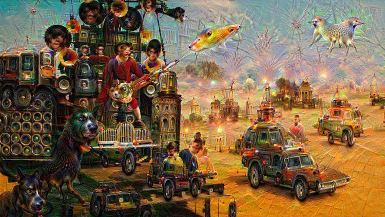 Immaginario metabolizzato dal cinema, a sua volta rimasticato dai robot. Algoritmi che digeriscono immagini di Mad Max: Fury Road e restituiscono simil-cover di Sgt. Pepper's Lonely Art Club Band dei Beatles. Immagine postata su Twitter da: @GoddoSukoupion